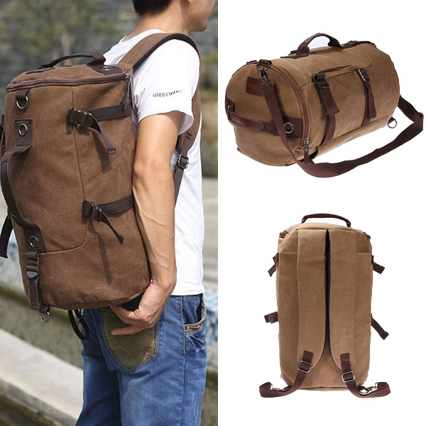 Vintage Canvas Travel Backpack Rucksack Camping Hiking