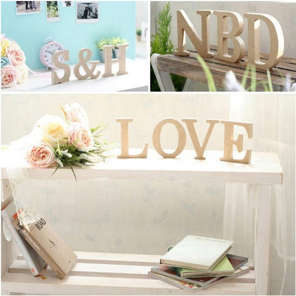 Wood Wooden Full Letters Bridal Wedding Party Home Decorations