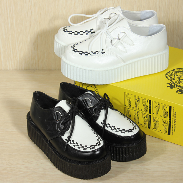Paltform Lace Up Ladies Flat Creepers Punk Goth Shoes