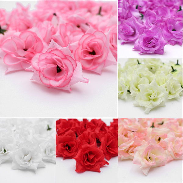 Artificial Silk Flower Head Lot For Hair Clip Wedding Decoration