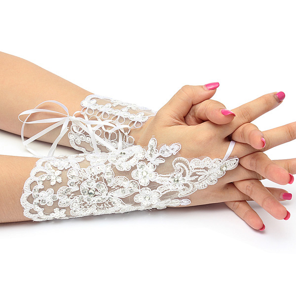 Elegant Fingerless Pearl Lace Strap Short Wedding Gloves Accessories