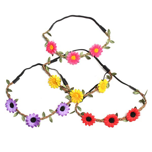 Wedding Party Beach Flower Hair Band Daisy Sunflower Elastic Garland