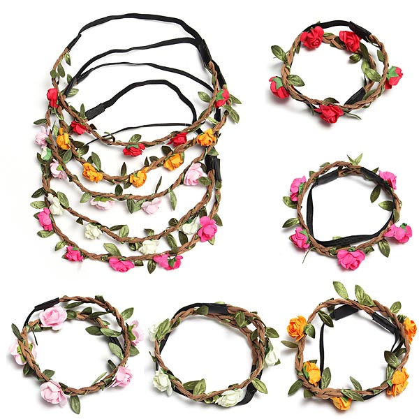 Boho Garland Weave Wreaths Wedding Beach Floral Elastic Hair Band