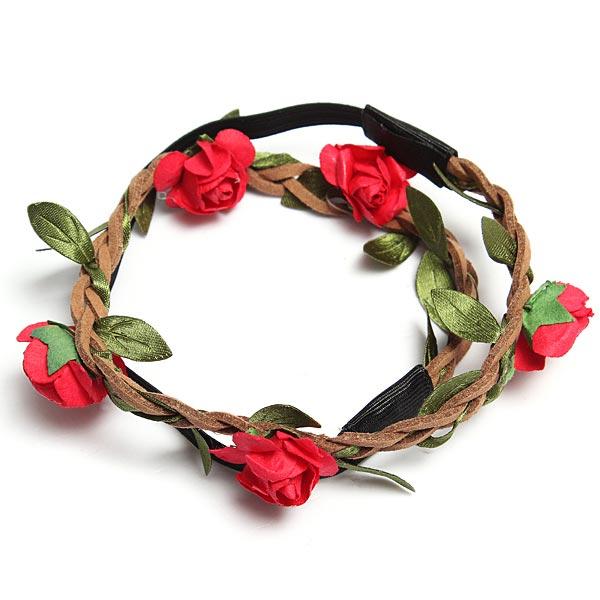Boho Garland Weave Wreaths Wedding Beach Floral Elastic Hair Band