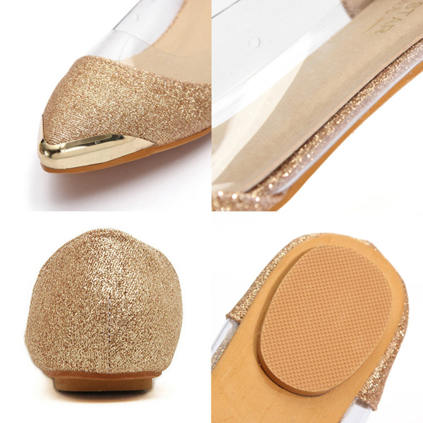 Glitter Sparkle Loafers Metal Transparent Low Heel Flat Shoes