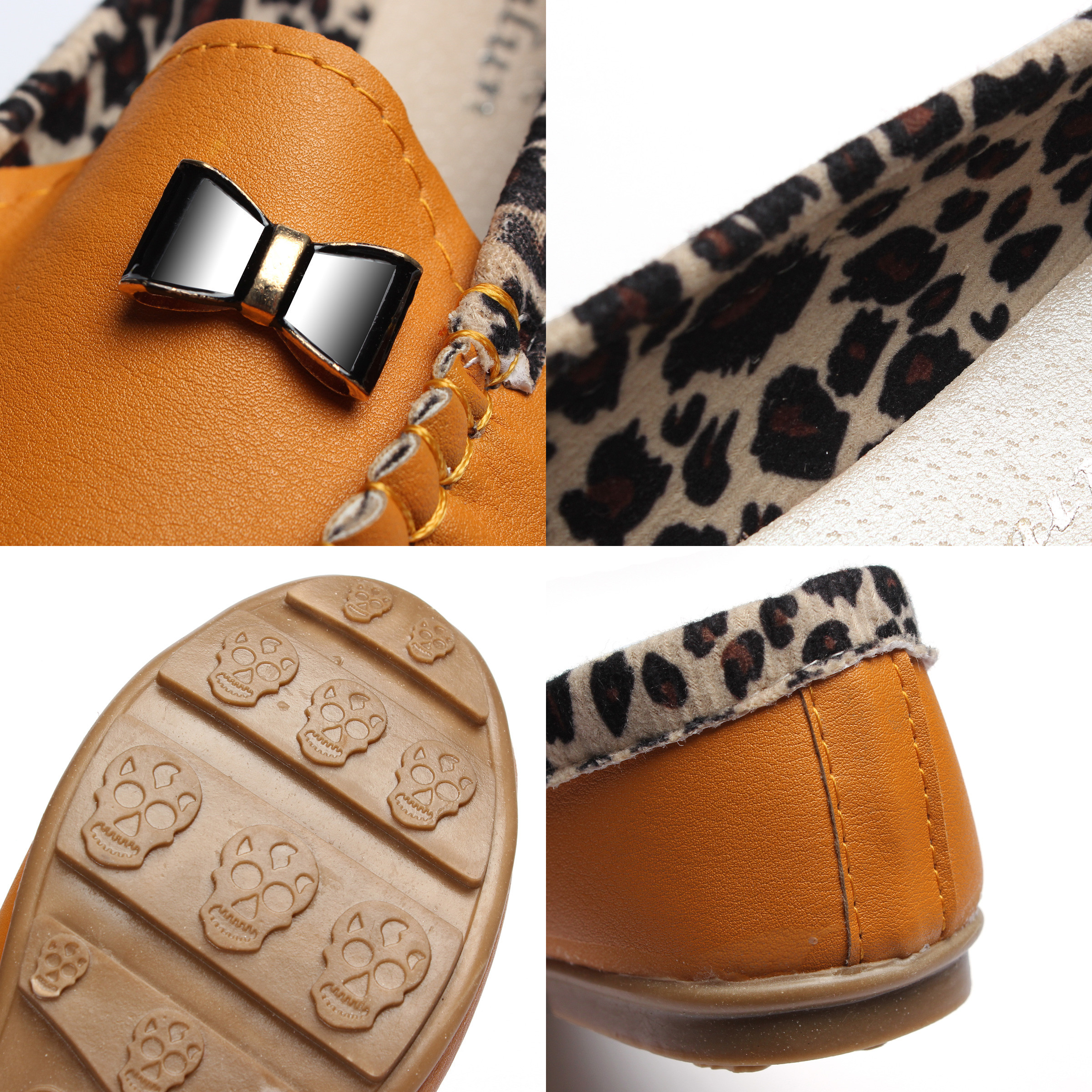 Women Fashion Leopard Casual Loafer Slipper Soft Leather Single Shoes