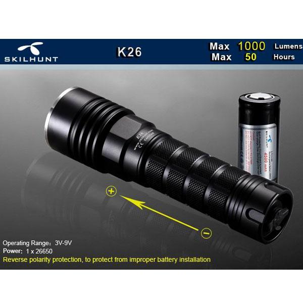 SKILHUNT K26 L2 1000LM 4Modes LED Flashlight Suit