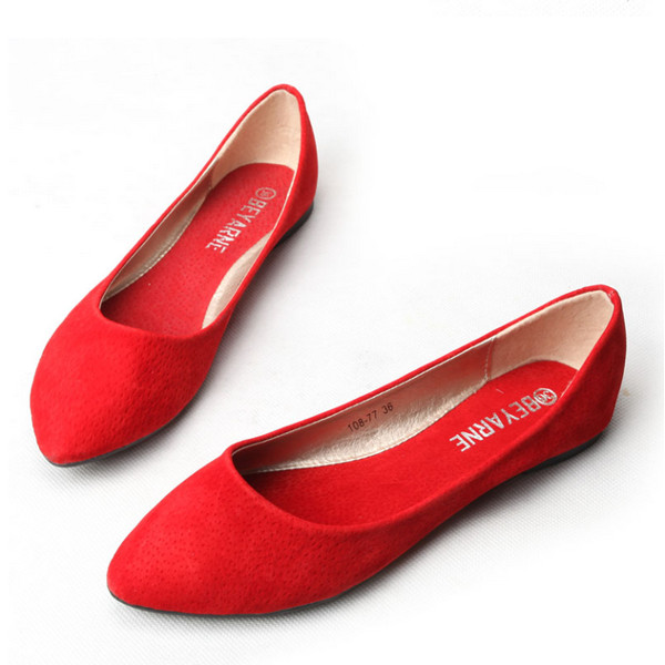 Genuine Leather Pure Color Pointed Toe Ballet Flat Loafers