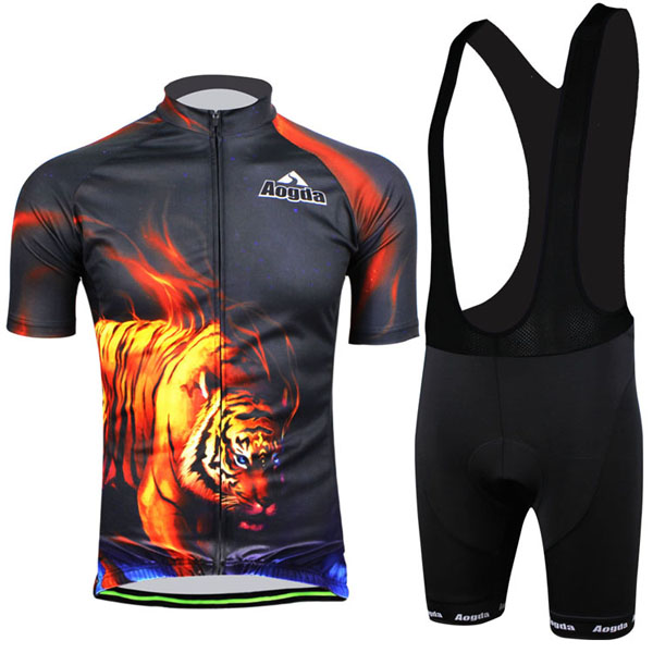 Cycling Suit Bicycle Bike Wear Shirt Men Jersey Bib Shorts Tiger