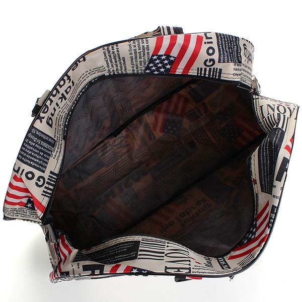 Waterproof Retro Print Shopping Luggage Duffle Bag Tote Travel Handbag