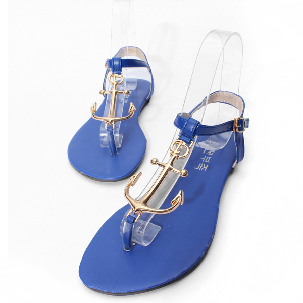 Metal Pirates Anchor T Strap Flip Flop Buckle Sandals