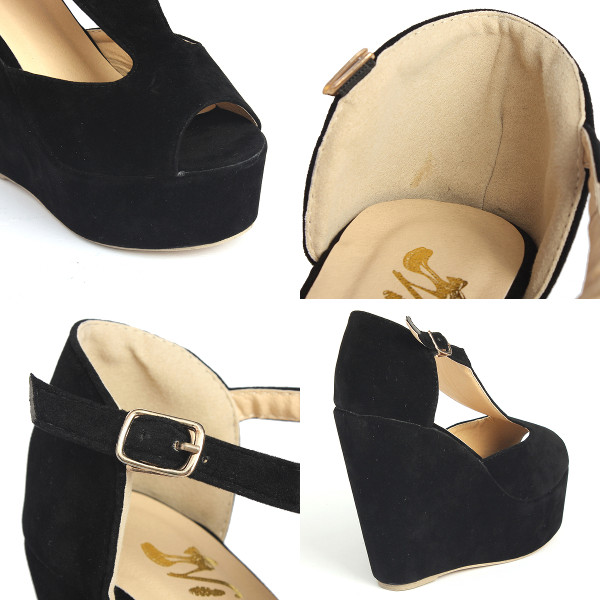 Platform Peep Toe Wedge Heels Exclusive Buckle High Shoes