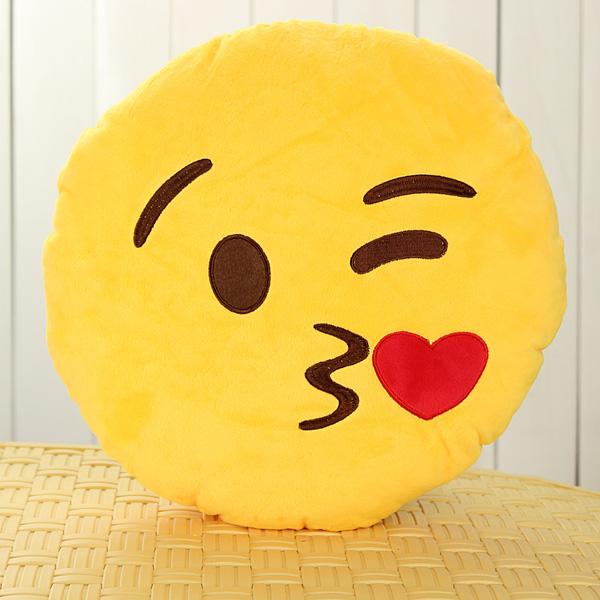 Emoji Smiley Emoticon Yellow Round Cushion Pillow Soft Toy