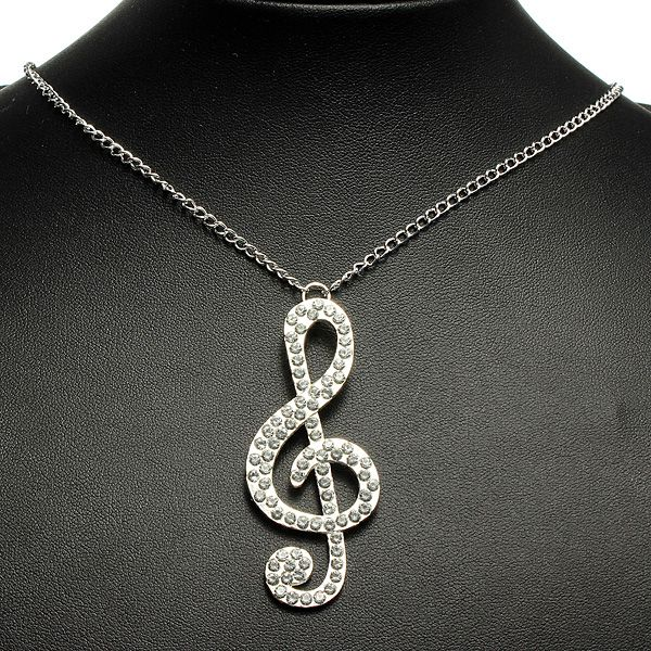 Rhinestone Crystal Musical Note Pendant Necklace Long Chain
