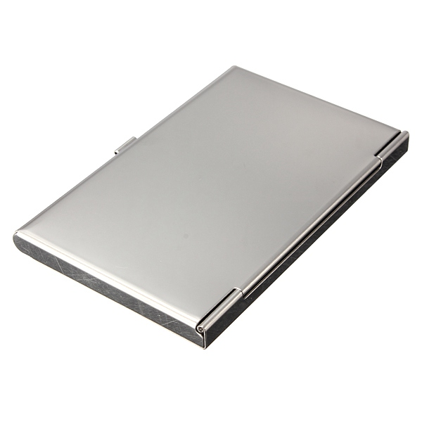 Stainless Steel Silver Aluminium Card Holder Case Box