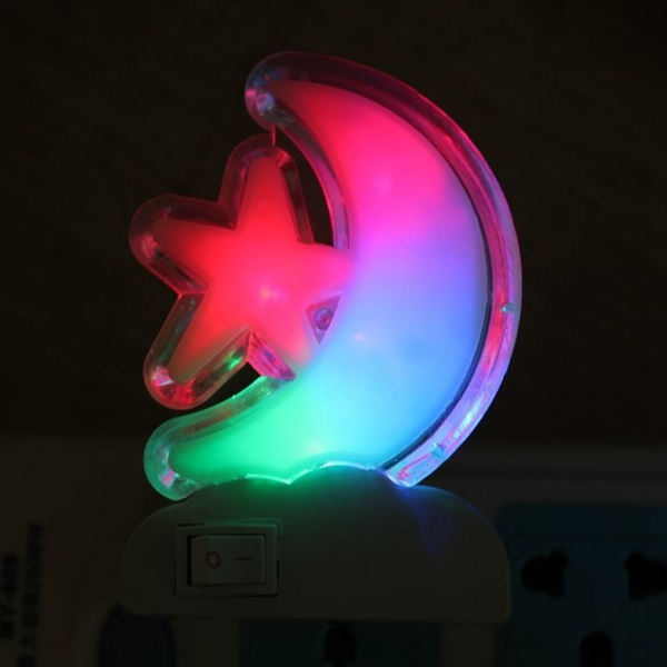 LED Colorful Moon Star Night Light Saving Decoration Bedside Lamp