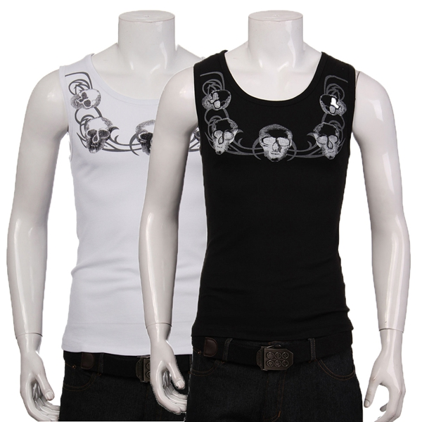 Mens Skull Sleeveless Vest Fashion Round Neck Tank Tops