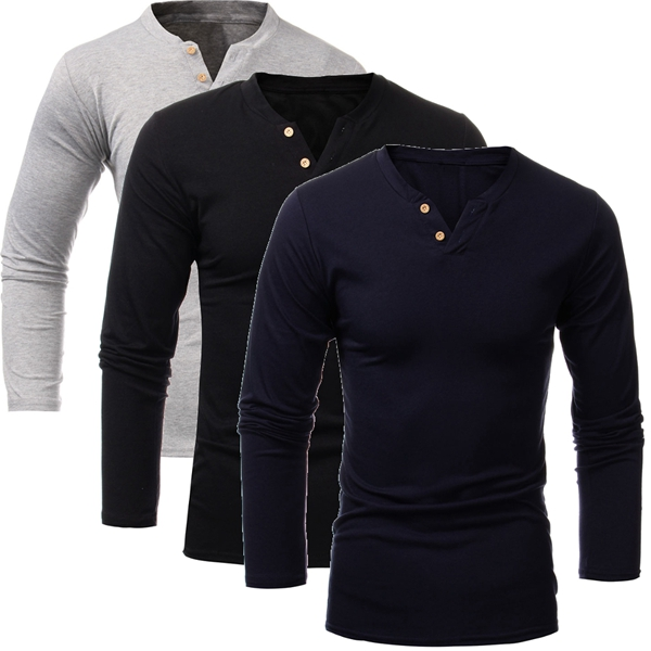 Mens Solid Color V-neck Button Long Sleeve T-shirt Casual Tops