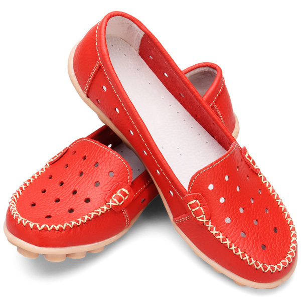 Genuine Leather Hollow Out Nurse Shoes Women Flat Loafers