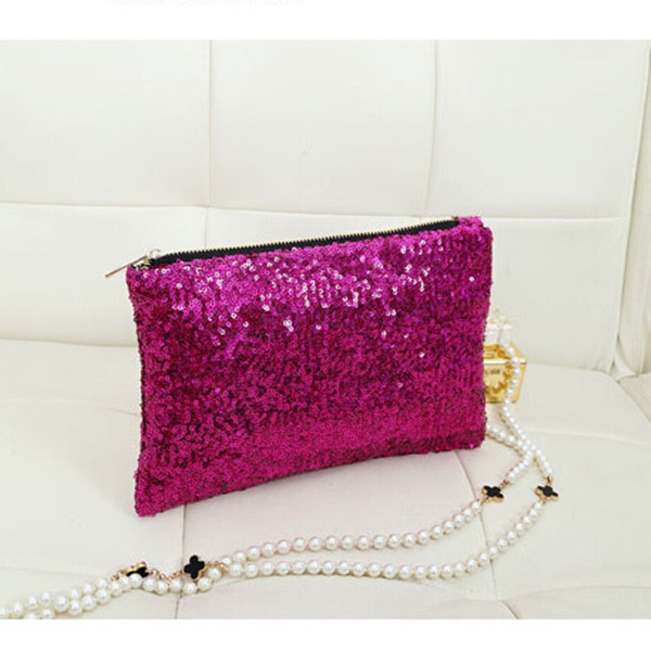 Womens Ladies Sequin Clutch Purse Evening Party Handbag Bag
