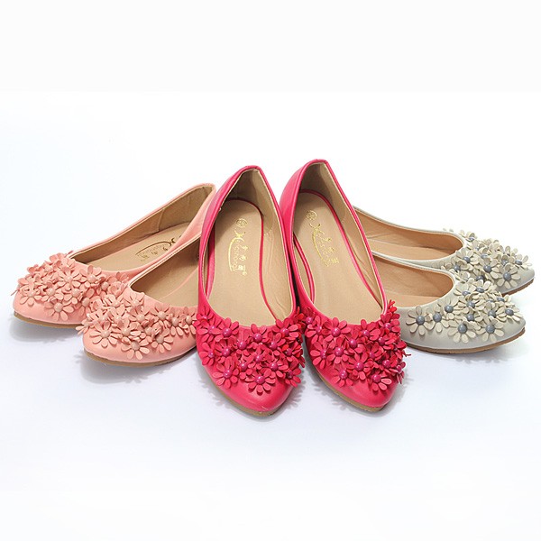 Pointed Toe Flowers Ballet Ballerinas Casual Flat Loafers Shoes