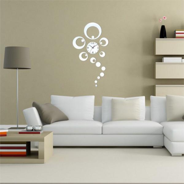 DIY 3D Home Decorative Clock Ring Circle Mirror Wall Clock Silver