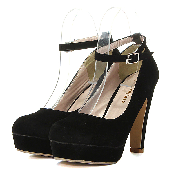 Suede Ankle Buckle Strap High Heel Platform Pumps Shoes