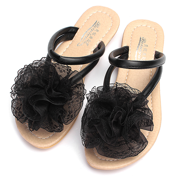 Lace Floral Strappy Thong Flat Slippers Beach Flip Flops Shoes Sandal