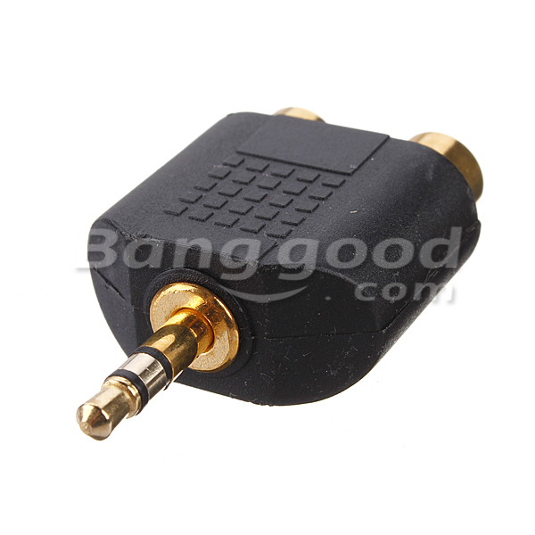 3.5mm Stereo Audio Male Plug To 2 RCA Female Y Splitter Adapter