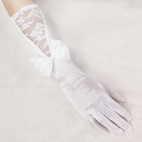Bridal Wedding Dress Long White Satin Gloves