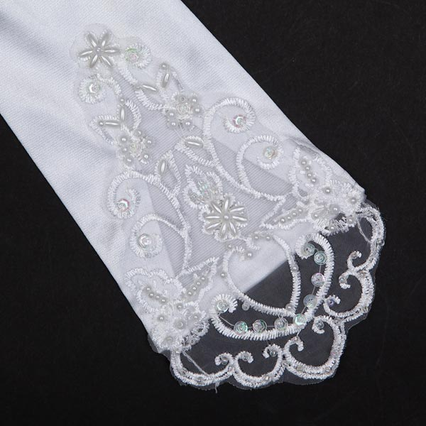 Bridal Wedding Dress Finger Lace Satin Party Accessories Gloves