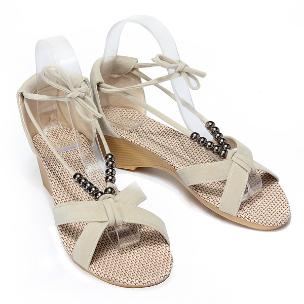 Flat Heel Casual Beaded Lacing Gladiator Small Wedges Shoes