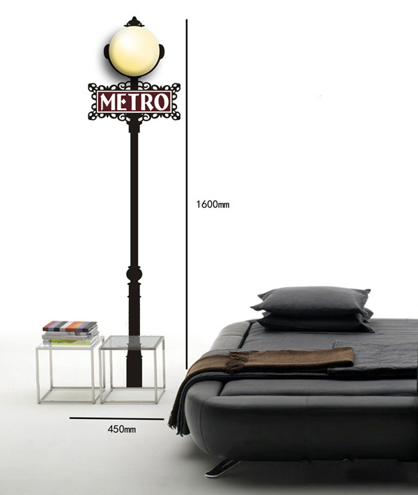 3D Wallpaper Metro Lamp Wall Sticker Room Walls Decor Lighting