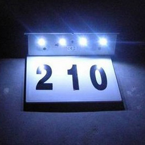 Special Solar Powered-led Doorplate Numbered Outdooors Gate Night Light