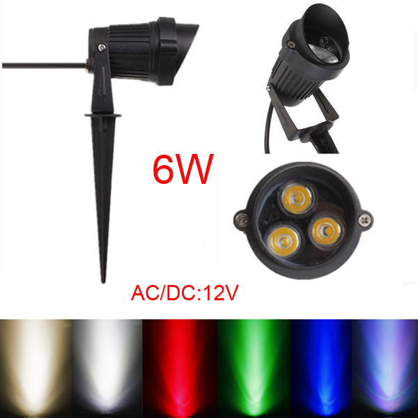 6W LED Flood Spot Lightt With Rod & Cap For Garden Yard IP65 DC 12-24V