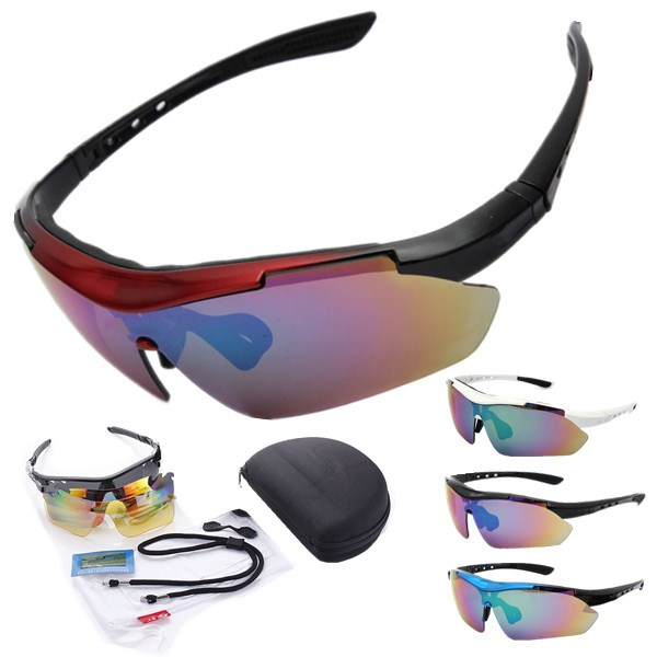 5 Lens Polarized Motorcycle Sports Sun Glassess Goggles