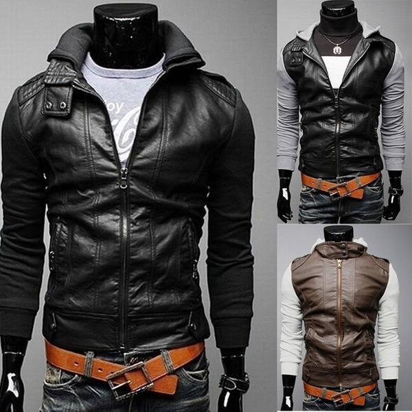 Mens PU Leather Hooded Knitted Long Sleeve Casual Jacket
