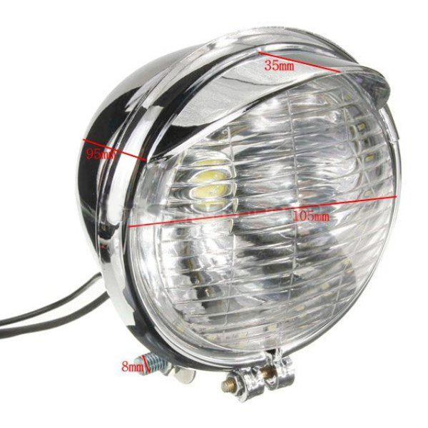 12V Universal Motorcycle 25 LEDs Headlight Headlamp Chrome Case