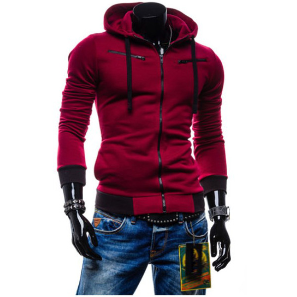 Mens Cotton Comfortable Casual Slim Hoodies Fashion Outwear