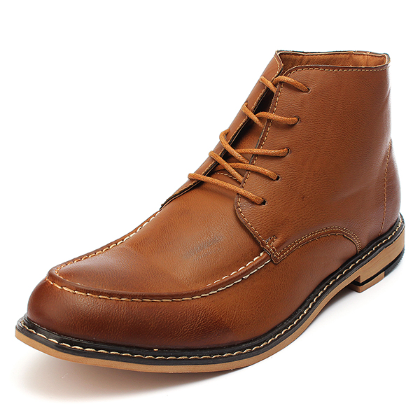 d7509dda5fde mens casual pu leather lace-up boots high top dress shoes oxfords at ...