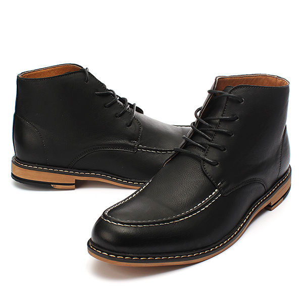 Mens Casual PU Leather Lace-up Boots High Top Dress Shoes Oxfords