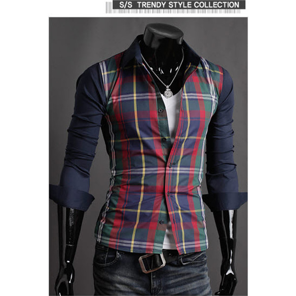 Mens Casual Splicing Shirt Fashion Slim Plaid Long-sleeved Shirt