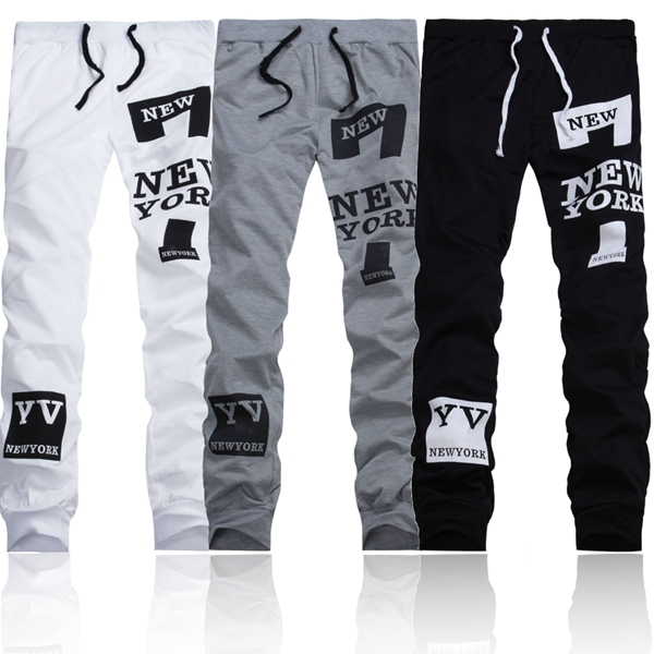 Mens Gym Loose Sports Letters Printing Joggers Harem Outdoor Pants
