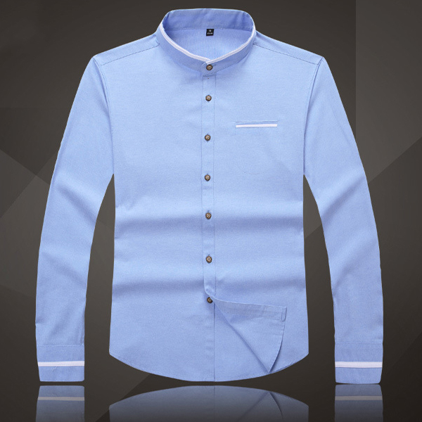 Mens Stand Collar Cotton Casual Long Sleeve Pocket Stitching Dress Shirt