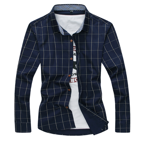Mens Slim Fit Casual Grid Printed Fashion Cotton Long Sleeve Shirt
