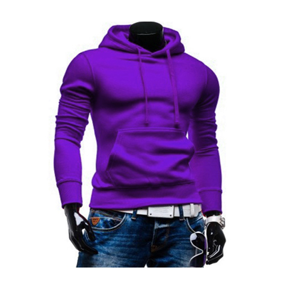 Mens Solid Color Hoodies Casual Fashion Long Sleeve Sweatershirt
