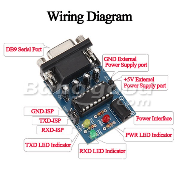 5Pcs Built-in MAX232CPE Chip RS232 TTL Converter Module With Cables