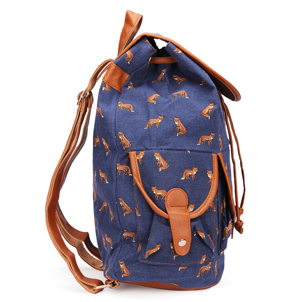 Girl Vintage Casual Drawstring Backpacks Canvas Travel Backpack School Bag Rucksack