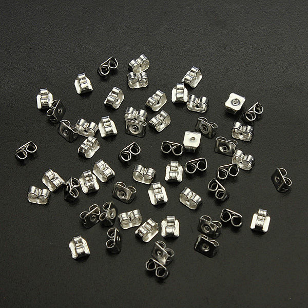 50Pcs Silver Butterfly Earring Backs Stoppers Jewelry Earnuts Studs