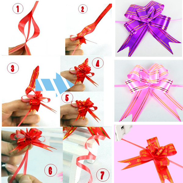 10Pcs Decoration Party Wedding Gift Golden Edge Wrap Pull Bow Ribbon
